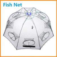 al por mayor agujeros fundido-La red plástica plegable de nylon de los pescados del cangrejo de la jaula del camarón de la red de la pesca de 93 * 93cm echó a plomo la red grande 20pcs / lot DHL de la pesca del molde de los agujeros 8