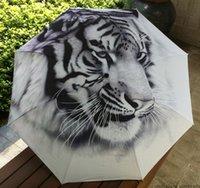 adult painting classes - 1510 Class oil painting umbrella tiger patten waterproof rainproof unvi anti for men and women umbrella