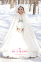 925 Sterling silver hooded cloak - 2015 Full Bridal Cape Faux Fur Wedding Cloaks Hooded Perfect For Winter Abaya Swing Coat Cheap In Stock Bridal Wraps