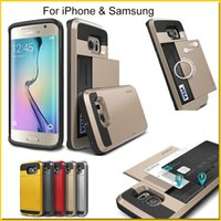 id cards - Note Galaxy S6 Galaxy S6 edge Plus Slide case Hybrid VERUS For iPhone Card Slot Wallet ID back cover shell Samsung S5 Note4 Note5