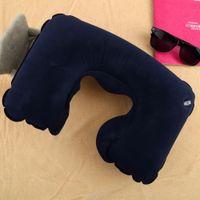 Wholesale Air Inflatable Pillow U shape Neck Rest Air Inflatable Travel Plane train even in office Convenient portable
