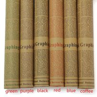 Wholesale Retro Letters Printing Flowers Wrapping Paper Novelty Newspaper Kraft Paper Double Sides Party Gift Decoration
