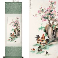 abstract chicken - chicken silk scroll painting Chinese painting Chicken under the tree art painting Scroll art painting chicken paintings