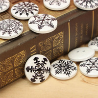Wholesale 2 Holes Wooden Sewing Buttons Scrapbooking Clothing Black Snowflake Pattern Decoration mm DIY Garment Accessories