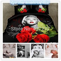 Cheap 3d Marilyn Monroe comforter bedding sets queen king super king bed linens with reversible bed duvet quilt cover sheet 5 pieces