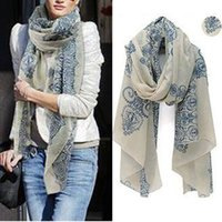 Wholesale 2015 cm High quality Blue and White Porcelain Style Thin Section the Silk Floss Women Scarf Shawl L033511
