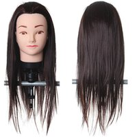 Wholesale 50 Real Human Hair Hairdressing Head Brown Salon Mannequin High Temperature Training Model With Clamp Hairdresser Styling Tools