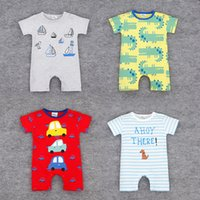 alligator baby clothes - 2016 Baby bodysuits infant one piece newborn jumpsuits short sleeve car dog ship alligator kid clothes wear Summer