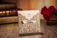 Wholesale Laser Cut Wedding Invitations Cards Gold Ribbon Hollow Wedding Card Free Customized Printing
