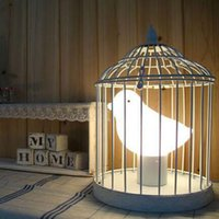 ac cage - Table Lamp Modern Fashion Creative White Iron Glass Cages Birds Desk Lamp Children s room Bedroom Bedside Decorative Light