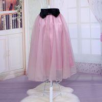 Cheap New Women Organza Yarn Gauze Long Empire Ball Gown Bow Mid-calf Lolita Style Full Skirts Retro Style Skirt