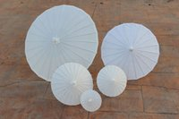 bamboo crafts diy - New White paper parasols DIY painting umbrellas Chinese craft umbrella Bridal wedding parasol sizes available Long handle Drop shipping