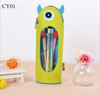 Wholesale 250pcs Hot Selling Stationery Pencil Case High Quality Pencil Bags Cartoon Pencil Bag Made by Double Leather with Transparent PVC