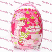 Wholesale Hot Sale Fashion Cartoon Pink Strawberry Girl Children Rolling Suitcase Luggage Kids School Bags with Wheels