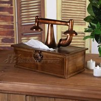 Cheap American country retro phone desktop living room coffee table Tissue Box Cafe wrought iron towel bars PACKER Post
