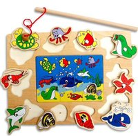 ab international - 1Pcs Magnetic Fishing Sea Animal World Puzzle Combo Pack AB Style children s wooden toys