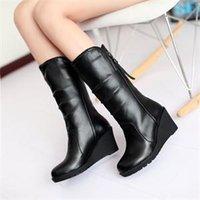 Marrón cuña botas mujeres España-2014 nuevas moda confort cuña media pierna tacón invierno cálido mujeres botas negro marrón