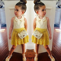 Wholesale New Fashion Summer Baby Girls Clothing Set White T shirt with Yellow Skirt Outfits Kids Clothes