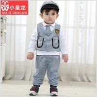 Wholesale New Design baby boys school plaid outfits children hat tie vest long sleeve t shirt pants sets kids autumn suits clothes garmen