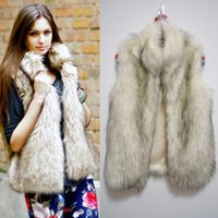 Wholesale New Faux Fur Polo Neck Gilet Vest Women Sleeveless Winter Jacket Front Open White Coat Outwear CJD0811