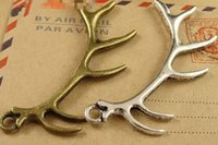 base metal charms - 20pcs x67MM DIY zakka Jewelry Accessory Metal Alloy Antique Bronze Silver Deer head Charms Pendant Base Settings Finding