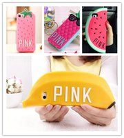Cheap Newest Victoria 's Secret PINK Luxe Glasses pineapple Strawberry Banana Watermelon silicone case cover For iphone 4 4s 5 5s 6