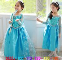 american yarn - Children Frozen Dress Elsa Girls Princess Paillette Yarn Flower Tulle Dresses Kids Lace Dress D5931