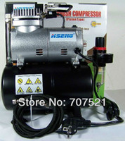 air compressor with tank - 220V AC mini piston air compressor pump noiseless silent Portable Airbrush Compressor tatoo make up with air tank Hseng AS186
