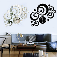 artistic medium - New Style Modern Home Decor DIY D Mirror Sticker Round Dial Artistic Wall Clock NVIE order lt no track