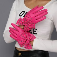 Wholesale Fashion lady rivet big bowknot lady PU leather mittens Lady gaga gloves