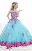 Wholesale 2015 New Style Blue Pink Ball Gowns Girl s Pageant Dresses with Crystals Pleated Lace Girls Flower Girls Dresses Dress Gown