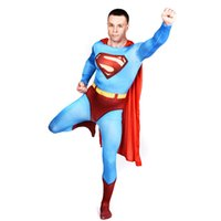 Wholesale HOT sale superman Zentai Catsuit Costumes Halloween costumes breathable material Lycra Zentai Fancy Cosplay Costume with cape unisex
