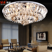 Wholesale Modern Round Crystal Chandeliers Flush Mount Ceiling Lamp E14 Glass Chandelier Hangs Lighting Circular Living Room Bedroom