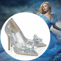 wedding party slippers - Cinderella Lily James Crystal Bride White Rhinestone Wedding Shoes Glass Slipper Plus Size Women Party Shoes