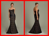 Cheap New Black Lace Long Strapless Beaded Mermaid Women Evening dresses Backless maternity Beads Ribbon Ruched Sash arabic Sexy Evening Prom Gown