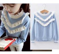 Wholesale 2016 NEW kids Sweater girl Children s girls long sleeve RUFFLES autumn knit A7