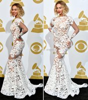 Wholesale Beyonce In Lace Applique Michael Costello Grammy Awards Red Carpet Celebrity Dresses Long Sleeve Evening Gown Backless Prom Dress