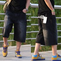 baggy designer jeans - Short baggy jeans hip hop for men boy dance pants loose big size trousers rap jeans with letter designer