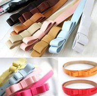 Wholesale Candy Color Children Girls Double deck Bowknot Thin Skinny Waist Band Child Kids Pin Buckle Adjustable Pretty colors PU Leather Belts L0980