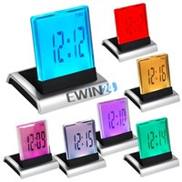 Wholesale 7 LED Calendar Alarm Clock Display Timer Thermometer Change Colors Digital LCD Alarm Clock