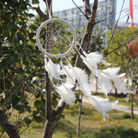 Wholesale India Style Handmade White Dream Catcher Circular With feathers Hanging Decoration Ornament Craft Gift dandys