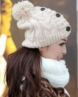 beijing knitting - Beijing Youth Don Johnson Yao flute with paragraph Button hat winter hat knitted wool Yiwu