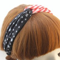 Wholesale American Flag Pattern Stars and Stripes Turban Headband for Yoga Women