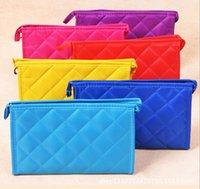 make up bag - Woman Rhombus Design Zip Closure Make Up Cosmetic Bag Pocke Fashion Rhombus Plaid Women Toiletry Bag High capacity Women Handbag make Up Bag