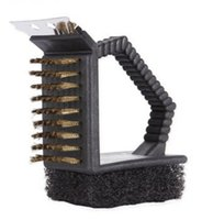 bbq brush scraper - Cleaning the barbecue steel wire brush multifunctional grill BBQ brush cleaning tools Steel brush Scraper Scrub Three in one
