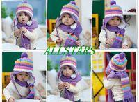 Wholesale Warm Winter Baby Hat Scarf Kid Hats Set Knitting Wool Cap Colors Girls Cute Beanie Christmas halloween Gift F