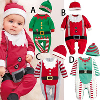 Wholesale 4 Design Children Christmas Xmas hat rompers Baby Santa suit cartoon stripe boy girl Pure cotton Long sleeve rompers baby clothes