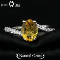 Cheap Wholesale-Genuine 925 Sterling Silver Rings For Women Fine Party Jewelry Yellow Natural Citrine Ring (JewelOra RI101282)