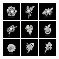 Wholesale Summer Jewlry Wholsale Fashion Weeding Accessories Platinum Silver Flower White Pearl Brooch Bouque Brooch For Women