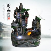 artificial fountain - Chinese style fengshui artificial waterfall resin craft indoor air humidity fountain ornaments for club deco